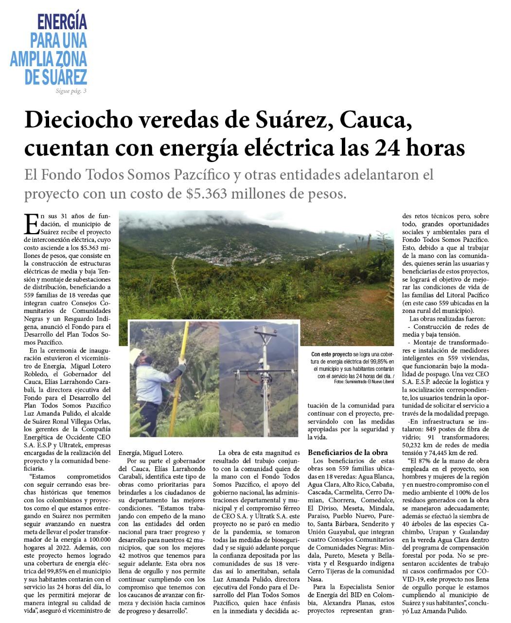 Electrificación de 18 veredas en Suárez